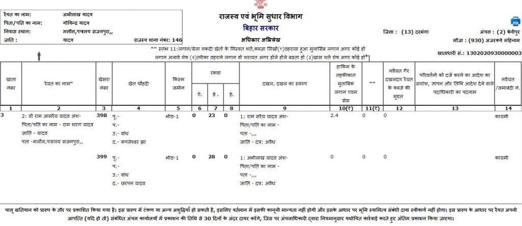 Bihar Bhulekh Record